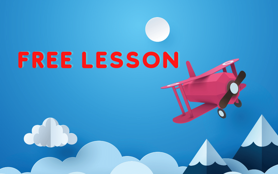 Free effective narrative lesson with airplane image